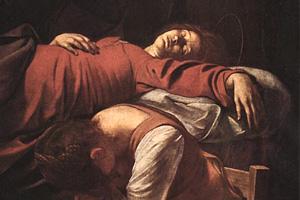 Caravaggio, Morte della Vergine, particolare (Wikipedia)
