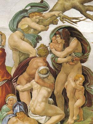 Cappella Sistina, Diluvio, particolare (Musei Vaticani)