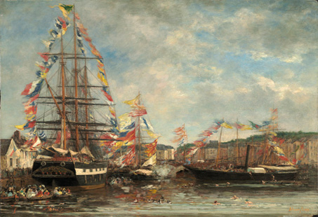 Eugène Boudin, Festa nel porto di Honfleur, 1858 (nga.gov)