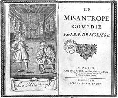 frontespizio Le Misanthrope
